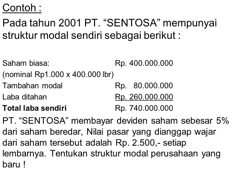 """Contoh : Pada tahun 2001 PT. """"SENTOSA"""" mempunyai struktur modal sendiri sebagai berikut : Saham biasa:Rp. 400.000.000 (nominal Rp1.000 x 400.000 lbr)"""