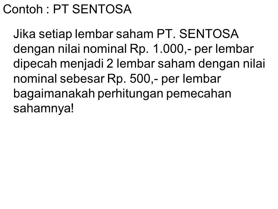 Contoh : PT SENTOSA Jika setiap lembar saham PT. SENTOSA dengan nilai nominal Rp. 1.000,- per lembar dipecah menjadi 2 lembar saham dengan nilai nomin