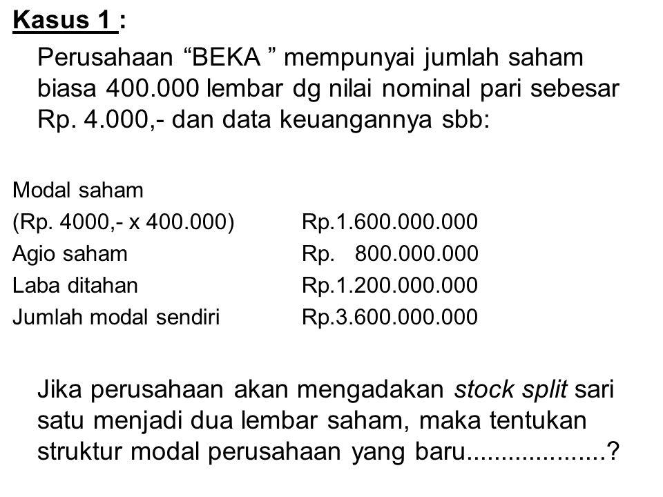 "Kasus 1 : Perusahaan ""BEKA "" mempunyai jumlah saham biasa 400.000 lembar dg nilai nominal pari sebesar Rp. 4.000,- dan data keuangannya sbb: Modal sah"