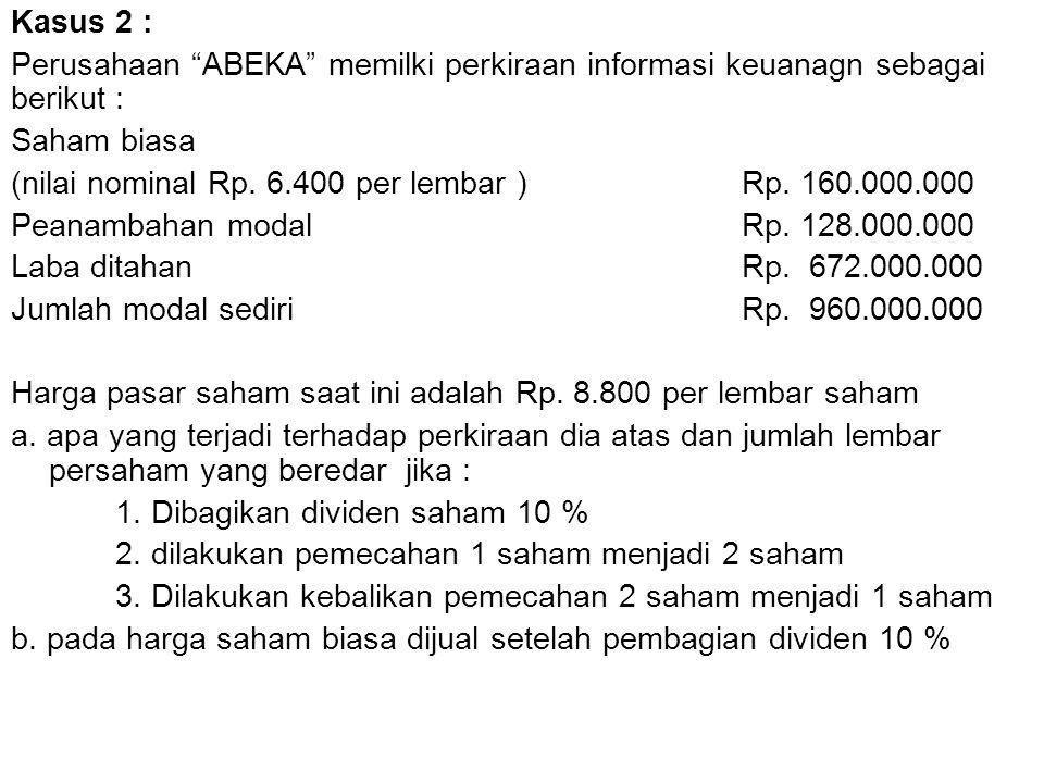 """Kasus 2 : Perusahaan """"ABEKA"""" memilki perkiraan informasi keuanagn sebagai berikut : Saham biasa (nilai nominal Rp. 6.400 per lembar )Rp. 160.000.000 P"""