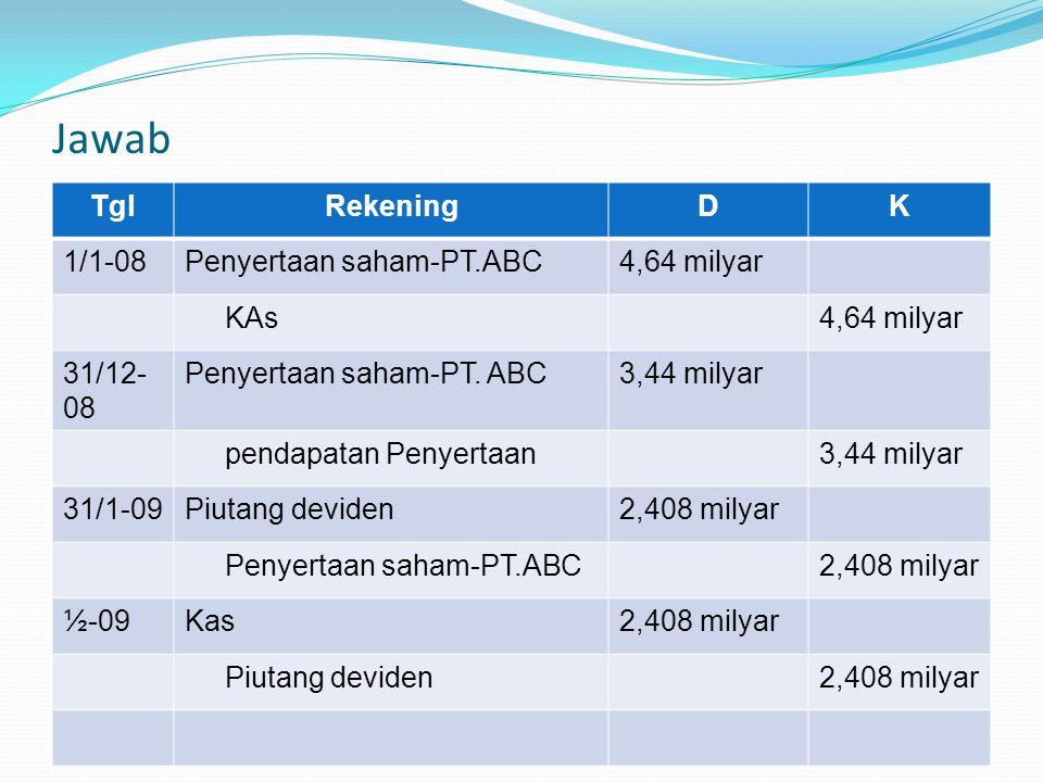 Jawab TglRekeningDK 1/1-08Penyertaan saham-PT.ABC4,64 milyar KAs4,64 milyar 31/12- 08 Penyertaan saham-PT. ABC3,44 milyar pendapatan Penyertaan3,44 mi