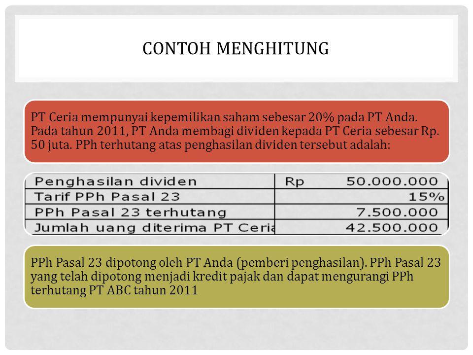 CONTOH MENGHITUNG PT Ceria mempunyai kepemilikan saham sebesar 20% pada PT Anda. Pada tahun 2011, PT Anda membagi dividen kepada PT Ceria sebesar Rp.