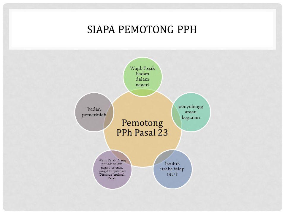 SIAPA PEMOTONG PPH Pemotong PPh Pasal 23 Wajib Pajak badan dalam negeri penyelengg araan kegiatan bentuk usaha tetap (BUT Wajib Pajak Orang pribadi da