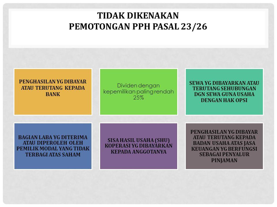 TIDAK DIKENAKAN PEMOTONGAN PPH PASAL 23/26 PENGHASILAN YG DIBAYAR ATAU TERUTANG KEPADA BANK Dividen dengan kepemilikan paling rendah 25% SEWA YG DIBAY