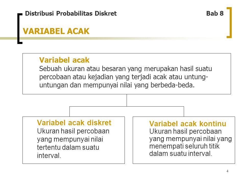 4 VARIABEL ACAK Variabel acak Sebuah ukuran atau besaran yang merupakan hasil suatu percobaan atau kejadian yang terjadi acak atau untung- untungan da