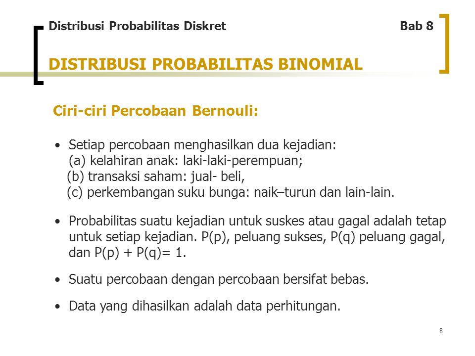 9 DISTRIBUSI PROBABILITAS BINOMIAL Rumus distribusi probabilitas binomial: Distribusi Probabilitas Diskret Bab 8 Dimana: P(r) : Nilai probabilitas binomial p : Probabilitas sukses suatu kejadian dalam setiap percobaan r : Banyaknya peristiwa sukses suatu kejadian untuk keseluruhan percobaan n : Jumlah total percobaan q : Probabilitas gagal suatu kejadian yang diperoleh dari q = 1-p