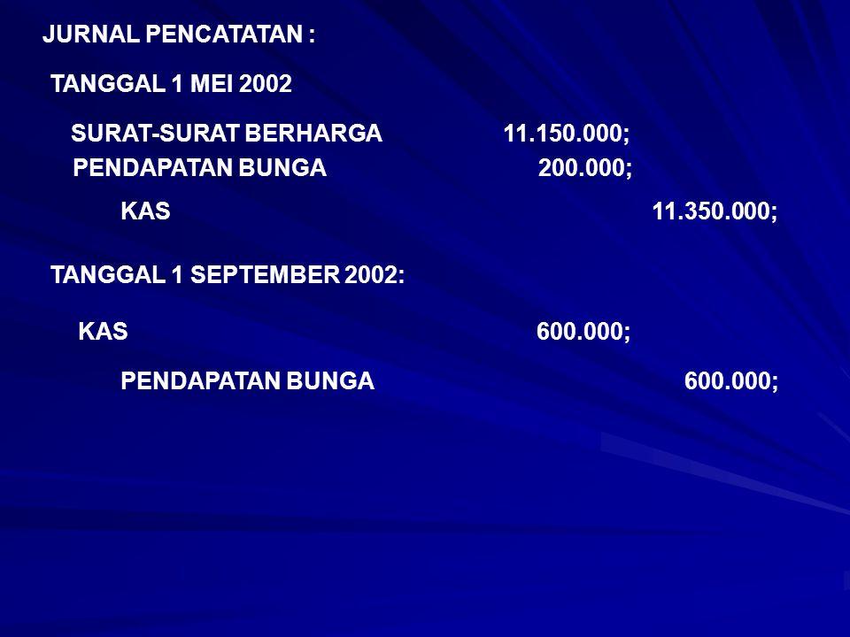 JURNAL PENCATATAN : TANGGAL 1 MEI 2002 SURAT-SURAT BERHARGA 11.150.000; PENDAPATAN BUNGA 200.000; KAS 11.350.000; TANGGAL 1 SEPTEMBER 2002: KAS 600.00