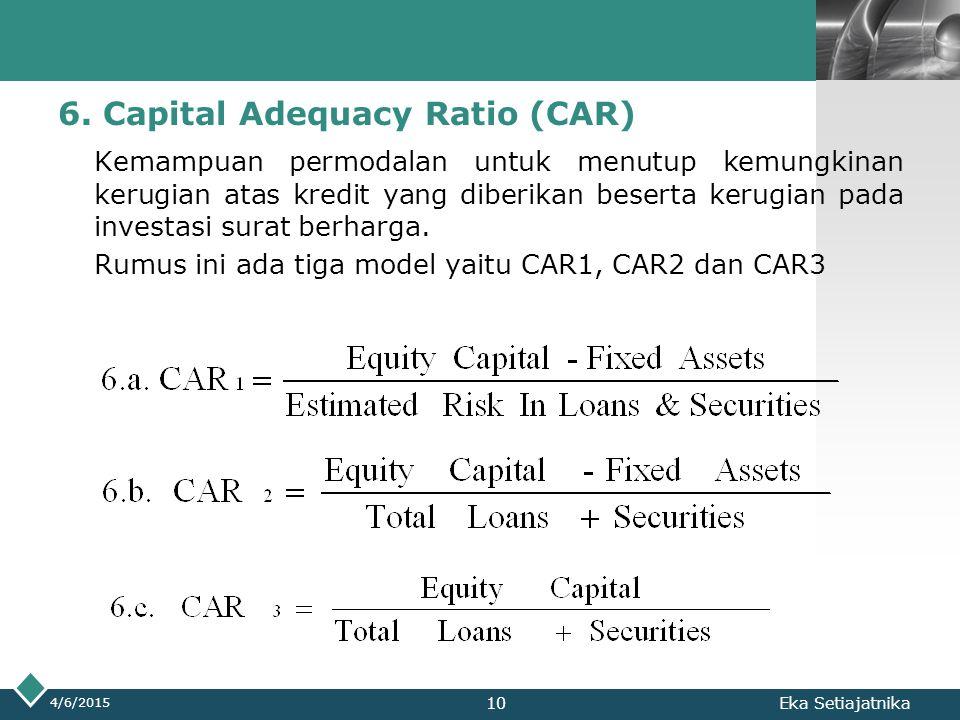 LOGO 6. Capital Adequacy Ratio (CAR) Kemampuan permodalan untuk menutup kemungkinan kerugian atas kredit yang diberikan beserta kerugian pada investas