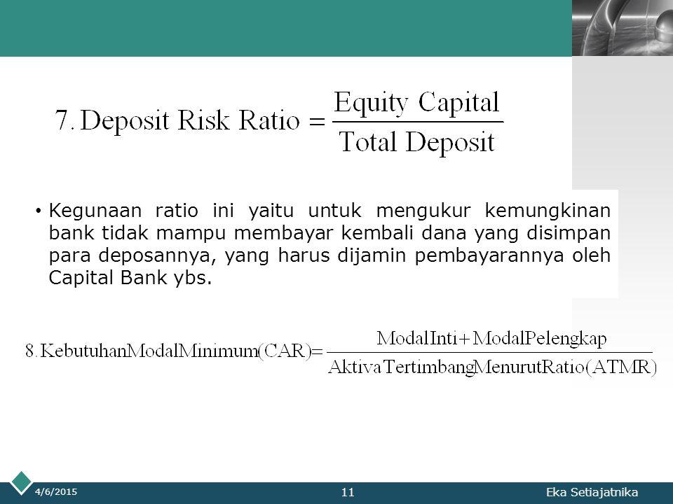 LOGO 4/6/2015 Eka Setiajatnika Kegunaan ratio ini yaitu untuk mengukur kemungkinan bank tidak mampu membayar kembali dana yang disimpan para deposanny