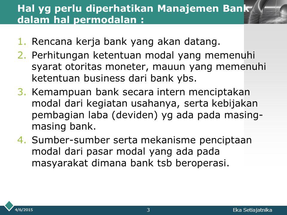 LOGO Hal yg perlu diperhatikan Manajemen Bank dalam hal permodalan : 1.Rencana kerja bank yang akan datang. 2.Perhitungan ketentuan modal yang memenuh