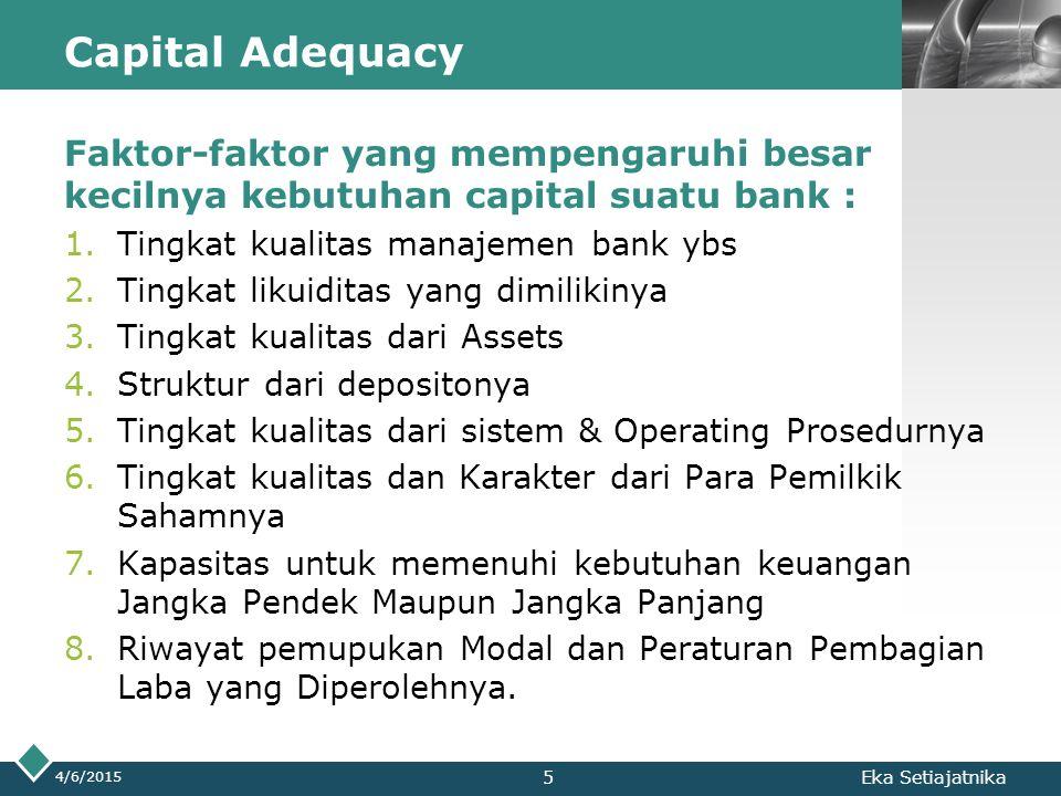 LOGO Capital Adequacy Faktor-faktor yang mempengaruhi besar kecilnya kebutuhan capital suatu bank : 1.Tingkat kualitas manajemen bank ybs 2.Tingkat li