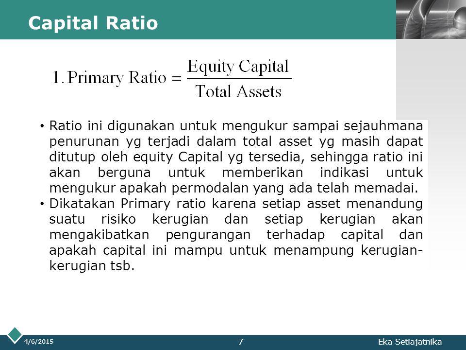 LOGO Capital Ratio 4/6/2015 Eka Setiajatnika Ratio ini digunakan untuk mengukur sampai sejauhmana penurunan yg terjadi dalam total asset yg masih dapa