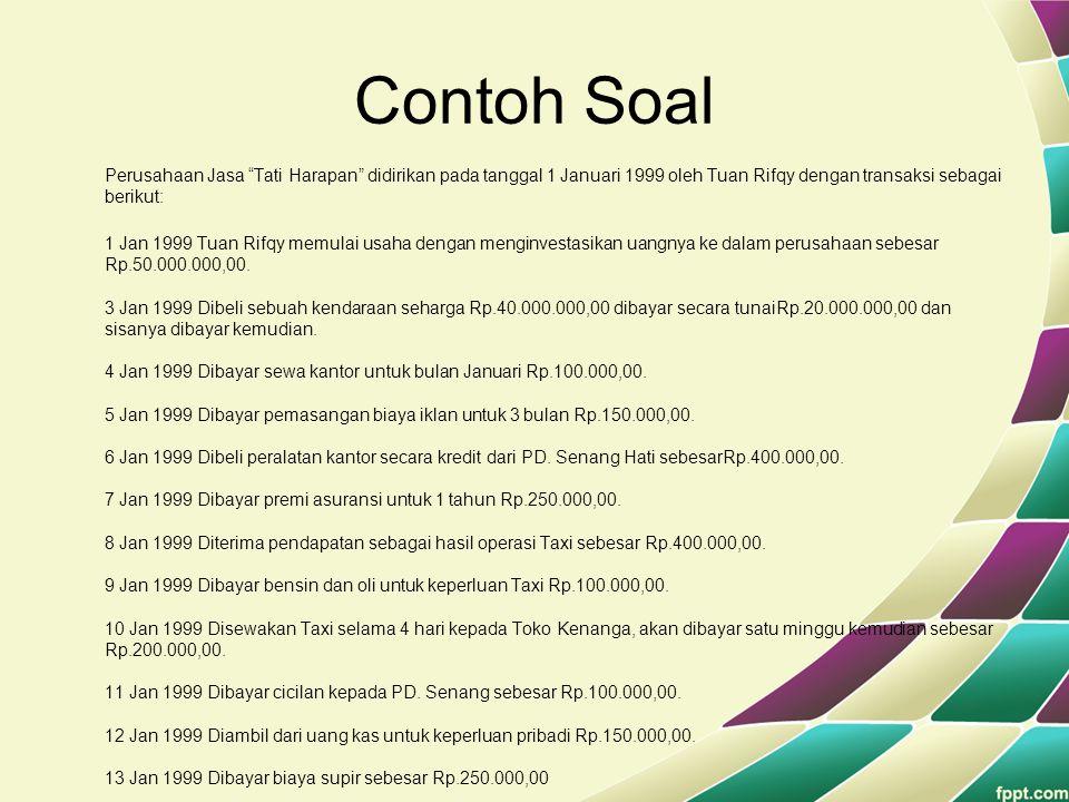 "Contoh Soal Perusahaan Jasa ""Tati Harapan"" didirikan pada tanggal 1 Januari 1999 oleh Tuan Rifqy dengan transaksi sebagai berikut: 1 Jan 1999 Tuan Rif"
