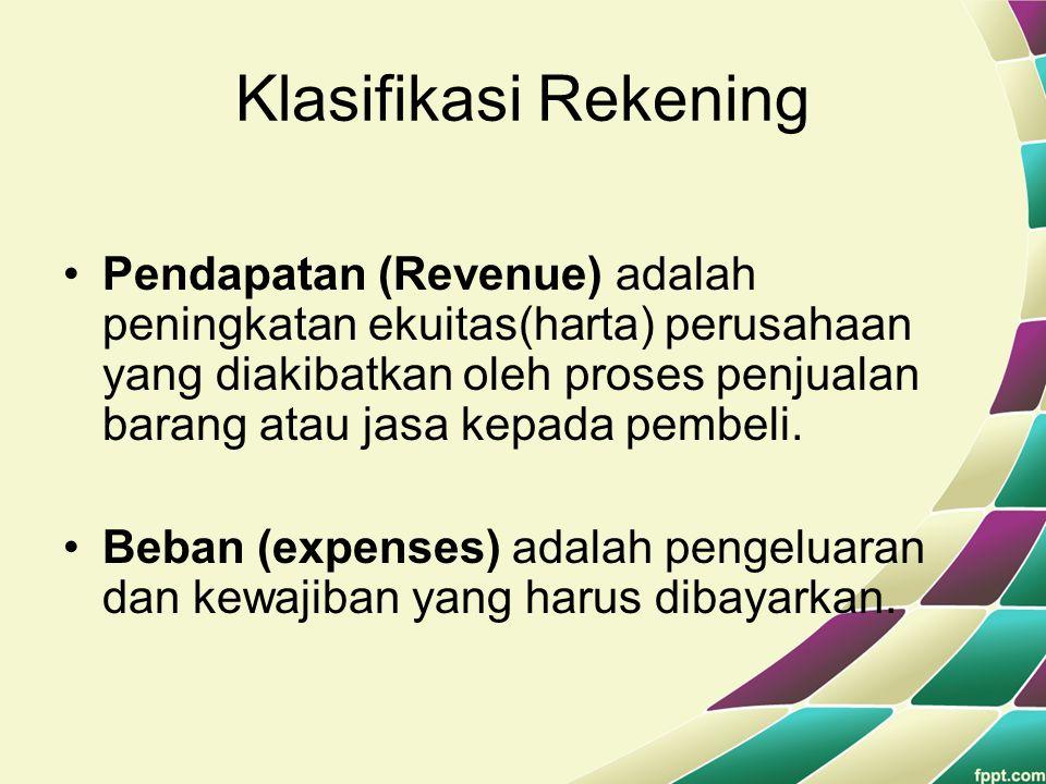 Klasifikasi Rekening Pendapatan (Revenue) adalah peningkatan ekuitas(harta) perusahaan yang diakibatkan oleh proses penjualan barang atau jasa kepada