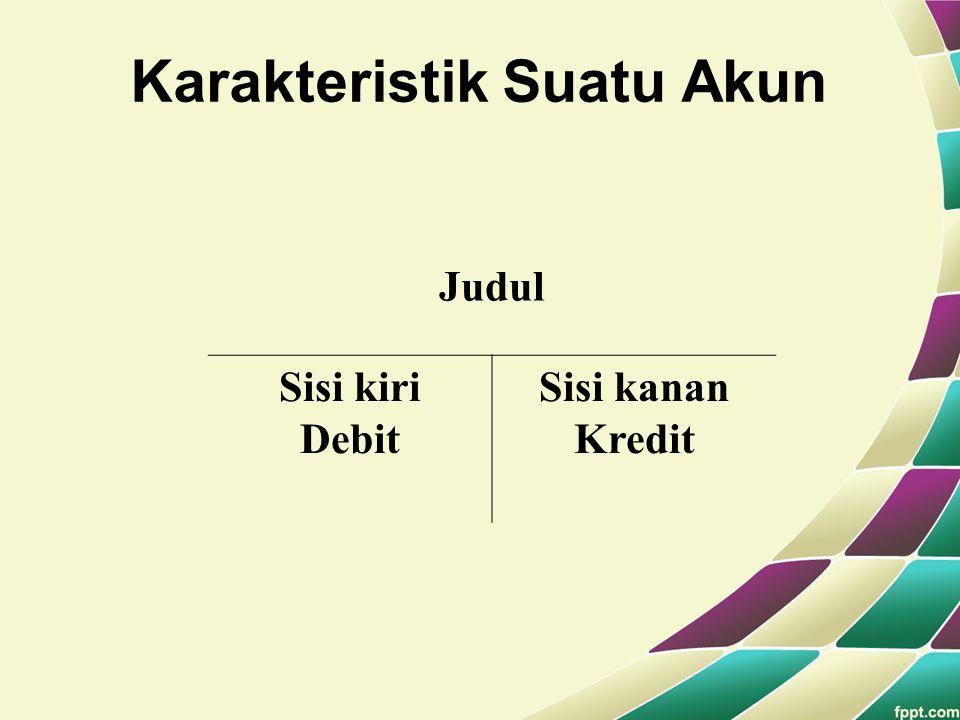 Karakteristik Suatu Akun Judul Sisi kiri Debit Sisi kanan Kredit