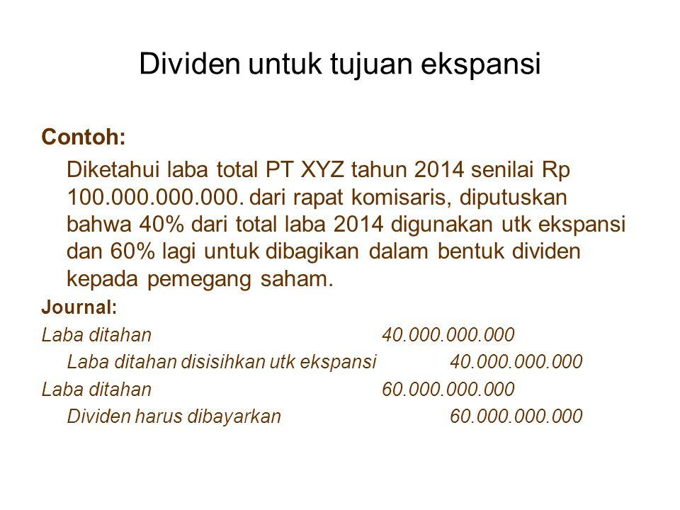 Dividen untuk tujuan ekspansi Contoh: Diketahui laba total PT XYZ tahun 2014 senilai Rp 100.000.000.000. dari rapat komisaris, diputuskan bahwa 40% da