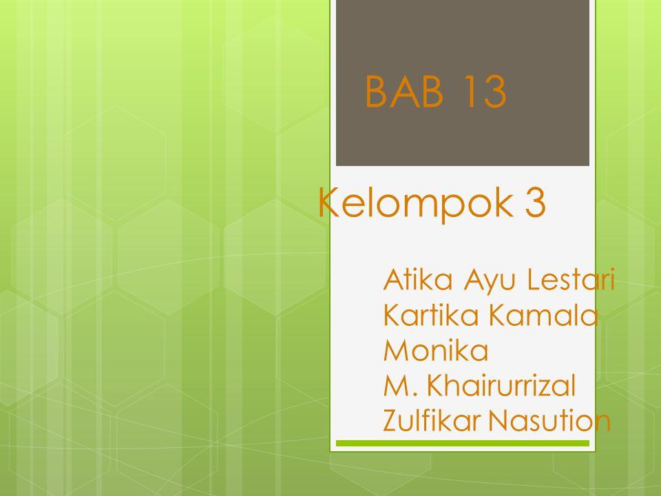 Kelompok 3 Atika Ayu Lestari Kartika Kamala Monika M. Khairurrizal Zulfikar Nasution BAB 13