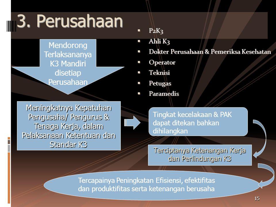 2. Masyarakat  PJK3  Organisasi Profesi  Assosiasi  Perguruan Tinggi  Pemerintah Pusat & Daerah  DK3N / W / K Mendorong Pelaksanaan K3 Di Masyar