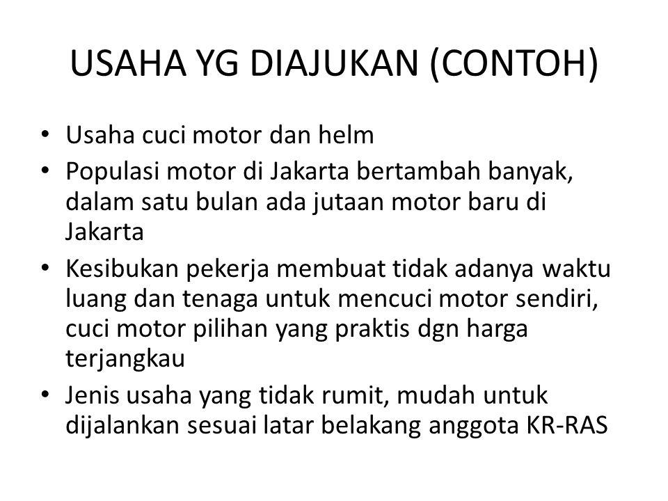 USAHA YG DIAJUKAN (CONTOH) Usaha cuci motor dan helm Populasi motor di Jakarta bertambah banyak, dalam satu bulan ada jutaan motor baru di Jakarta Kes