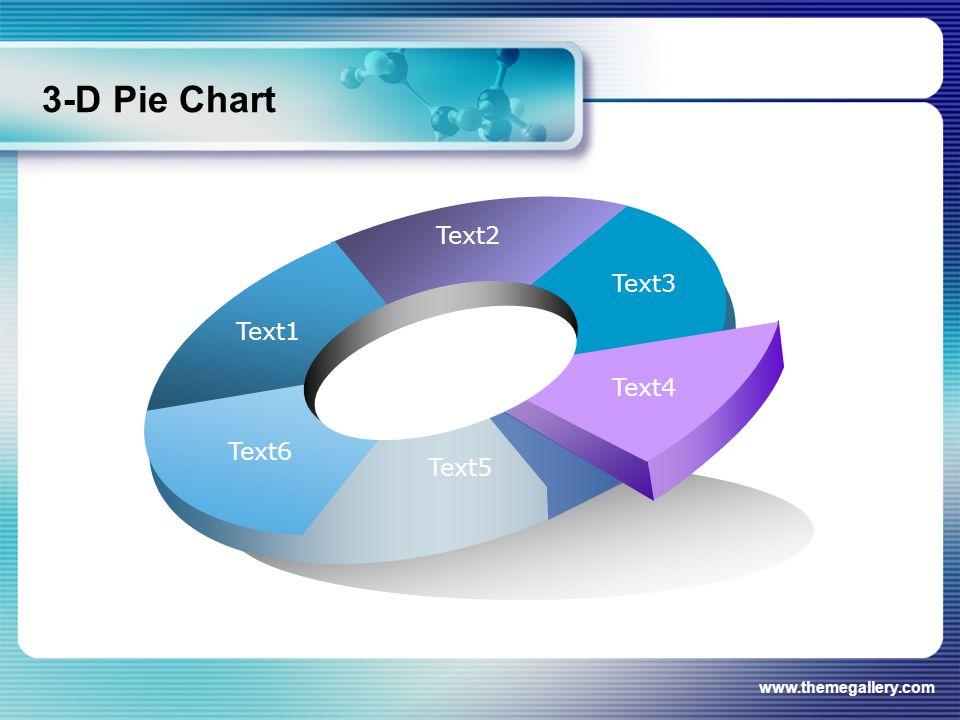 www.themegallery.com 3-D Pie Chart Text1 Text2 Text3 Text4 Text5 Text6