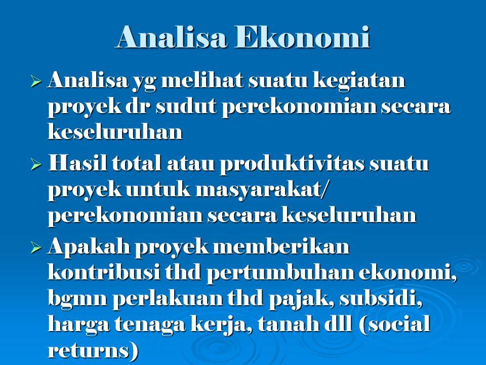 Analisa Finansial vs Ekonomi Analisa Finansial vs Ekonomi Analisa Finansial 1.