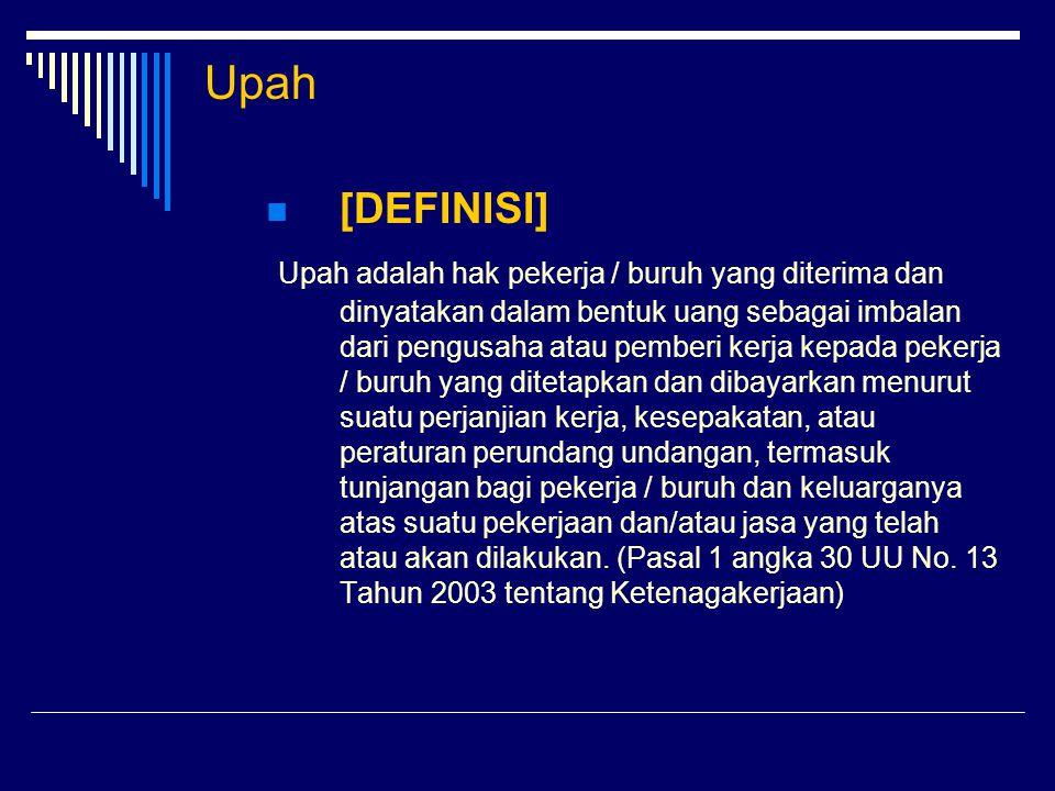 Upah  [DASAR HUKUM] - Pasal 27 UUD 1945 - UU No.