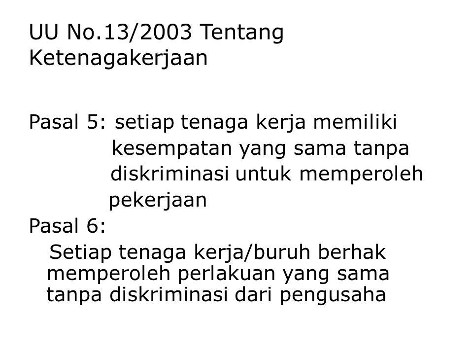 UU No.13/2003 Tentang Ketenagakerjaan Pasal 5: setiap tenaga kerja memiliki kesempatan yang sama tanpa diskriminasi untuk memperoleh pekerjaan Pasal 6