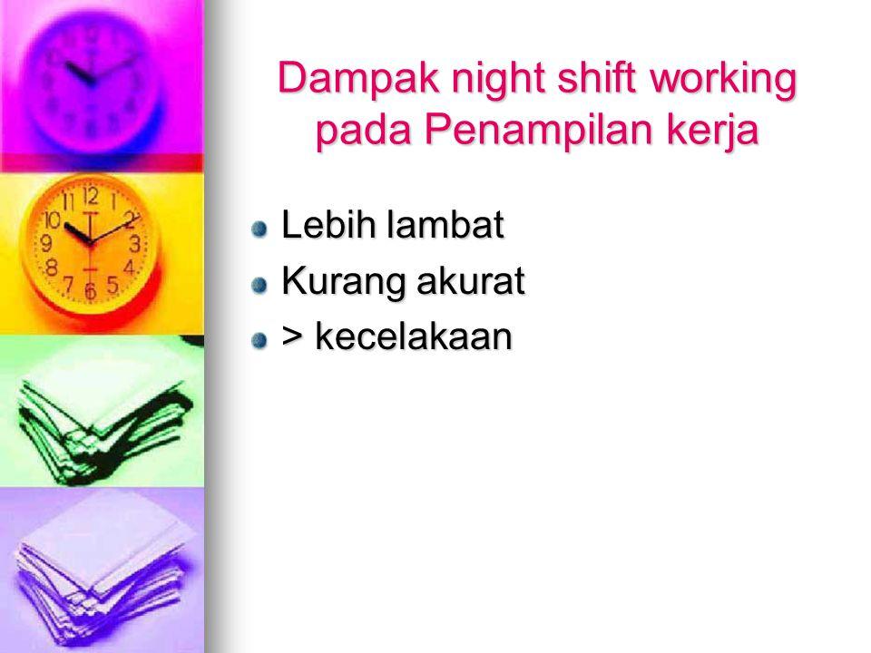 Dampak night shift working pada Penampilan kerja Lebih lambat Kurang akurat > kecelakaan