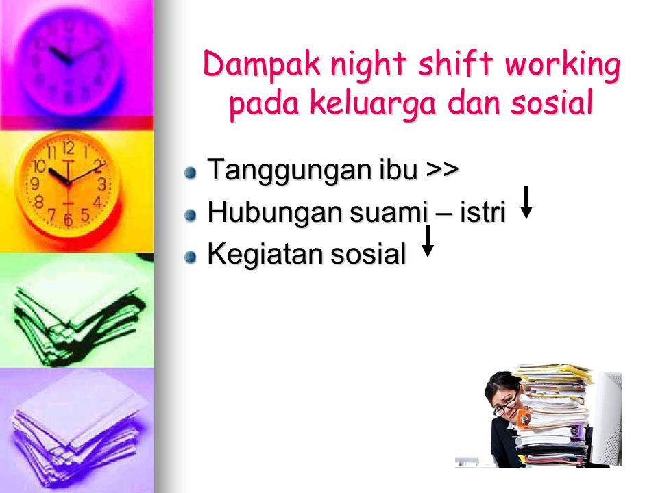Dampak night shift working pada keluarga dan sosial Tanggungan ibu >> Hubungan suami – istri Kegiatan sosial