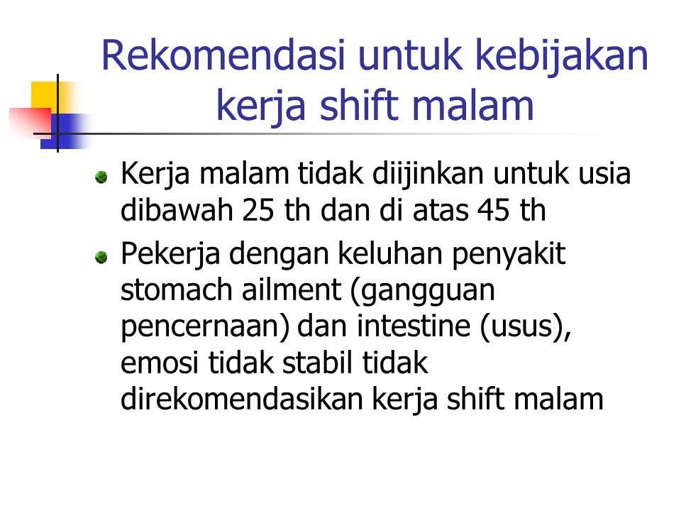 Rekomendasi untuk kebijakan kerja shift malam Kerja malam tidak diijinkan untuk usia dibawah 25 th dan di atas 45 th Pekerja dengan keluhan penyakit s