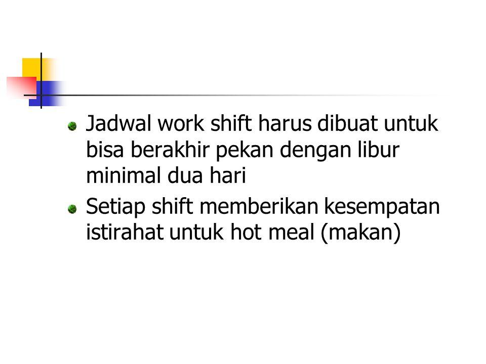 Jadwal work shift harus dibuat untuk bisa berakhir pekan dengan libur minimal dua hari Setiap shift memberikan kesempatan istirahat untuk hot meal (ma