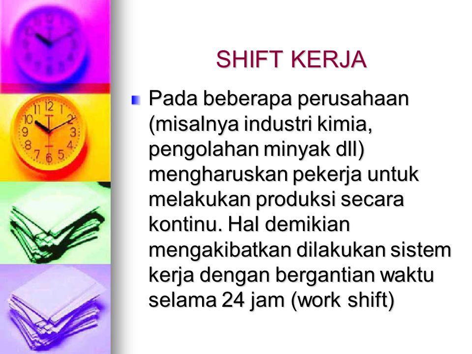 SHIFT KERJA Pada beberapa perusahaan (misalnya industri kimia, pengolahan minyak dll) mengharuskan pekerja untuk melakukan produksi secara kontinu. Ha