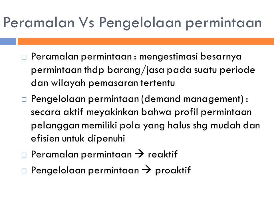 Peramalan Vs Pengelolaan permintaan  Peramalan permintaan : mengestimasi besarnya permintaan thdp barang/jasa pada suatu periode dan wilayah pemasara