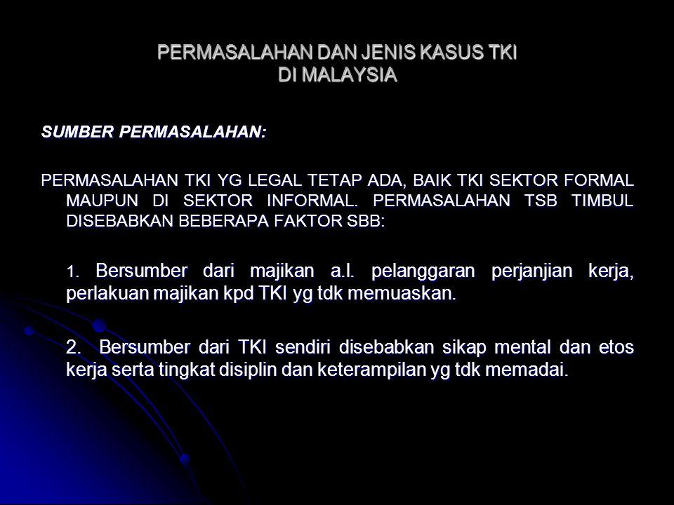 PERMASALAHAN DAN JENIS KASUS TKI DI MALAYSIA SUMBER PERMASALAHAN: PERMASALAHAN TKI YG LEGAL TETAP ADA, BAIK TKI SEKTOR FORMAL MAUPUN DI SEKTOR INFORMA