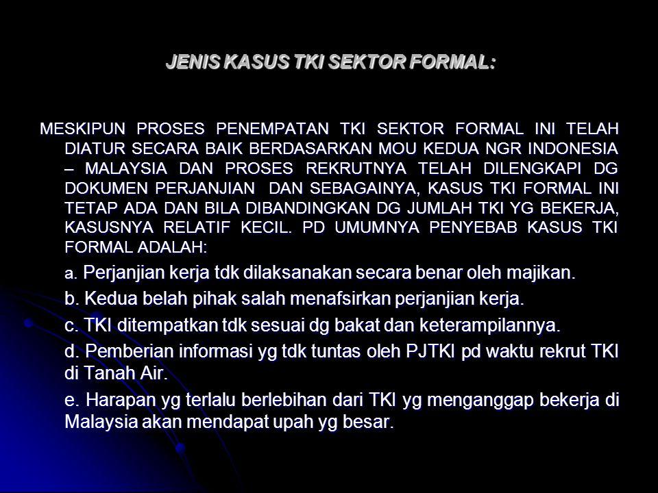 JENIS KASUS TKI SEKTOR FORMAL: MESKIPUN PROSES PENEMPATAN TKI SEKTOR FORMAL INI TELAH DIATUR SECARA BAIK BERDASARKAN MOU KEDUA NGR INDONESIA – MALAYSI