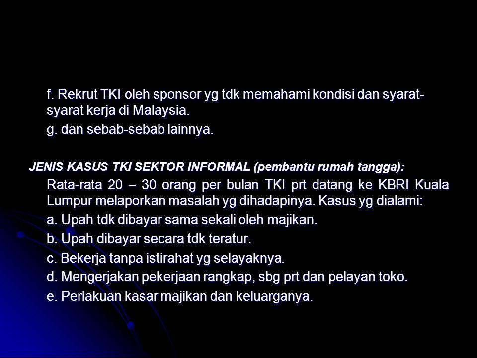 f. Rekrut TKI oleh sponsor yg tdk memahami kondisi dan syarat- syarat kerja di Malaysia. g. dan sebab-sebab lainnya. JENIS KASUS TKI SEKTOR INFORMAL (