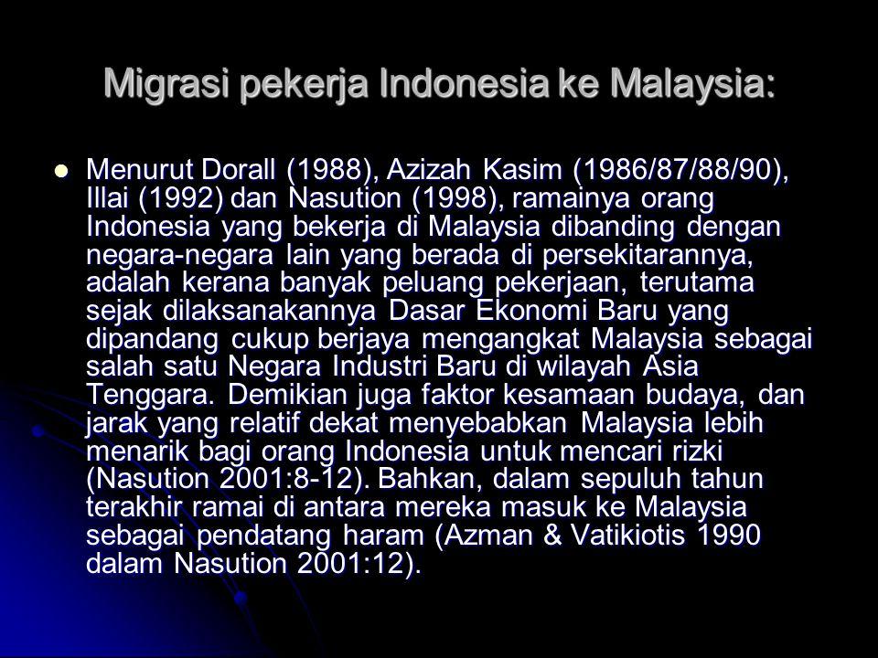 Migrasi pekerja Indonesia ke Malaysia: Menurut Dorall (1988), Azizah Kasim (1986/87/88/90), Illai (1992) dan Nasution (1998), ramainya orang Indonesia