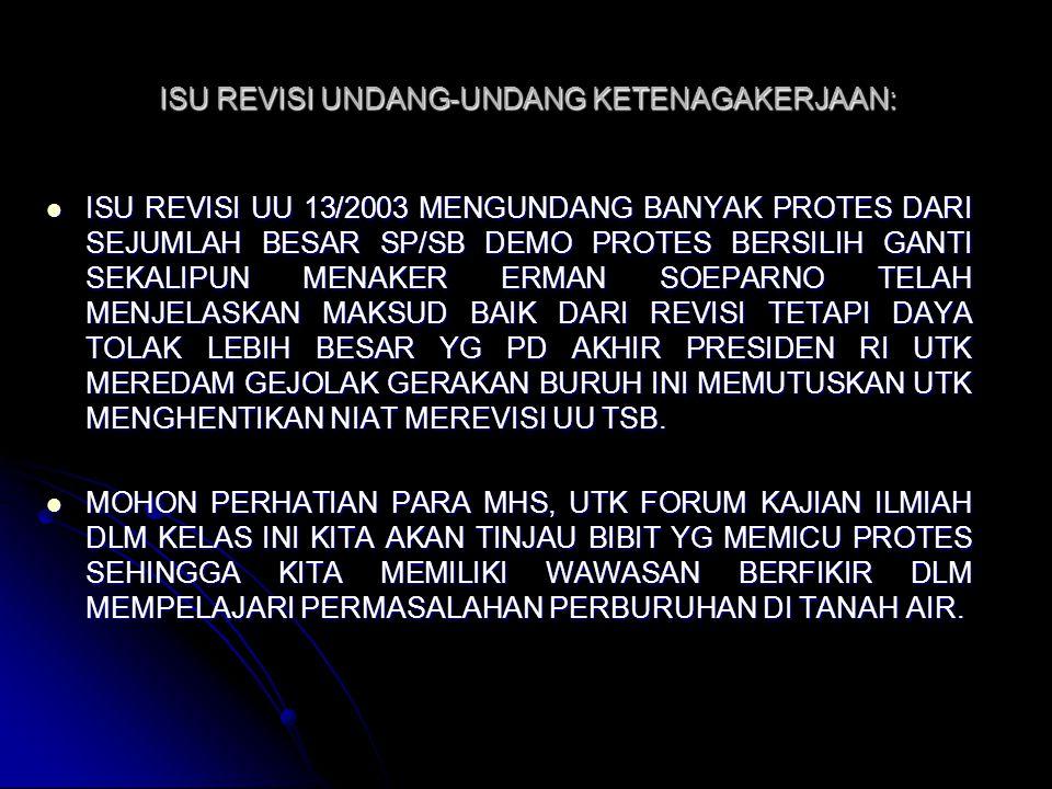 ISU REVISI UNDANG-UNDANG KETENAGAKERJAAN: ISU REVISI UU 13/2003 MENGUNDANG BANYAK PROTES DARI SEJUMLAH BESAR SP/SB DEMO PROTES BERSILIH GANTI SEKALIPU