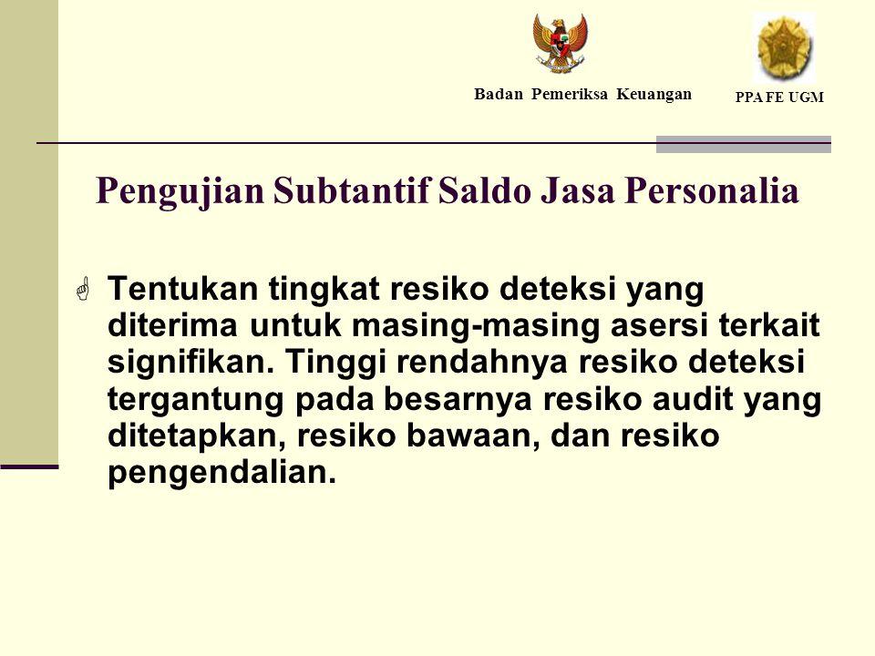 Pengujian Subtantif Saldo Jasa Personalia  Tentukan tingkat resiko deteksi yang diterima untuk masing-masing asersi terkait signifikan.