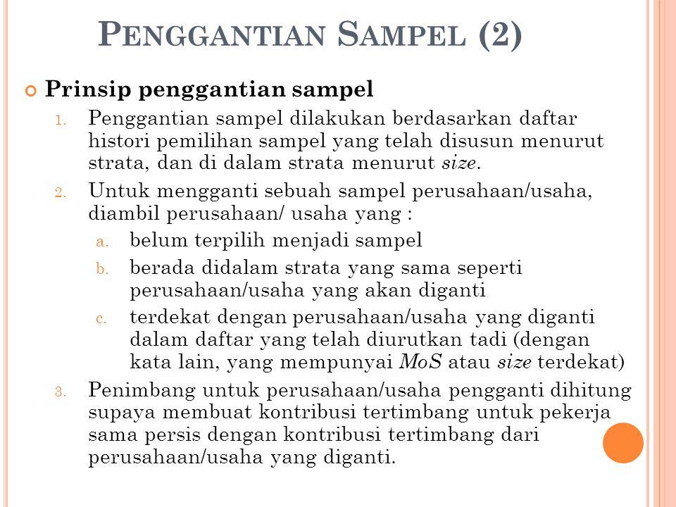 P ENGGANTIAN S AMPEL (2) Prinsip penggantian sampel 1.