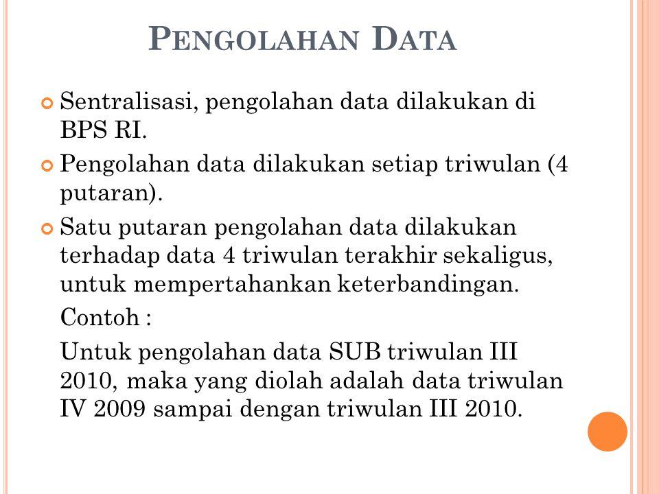 P ENGOLAHAN D ATA Sentralisasi, pengolahan data dilakukan di BPS RI.