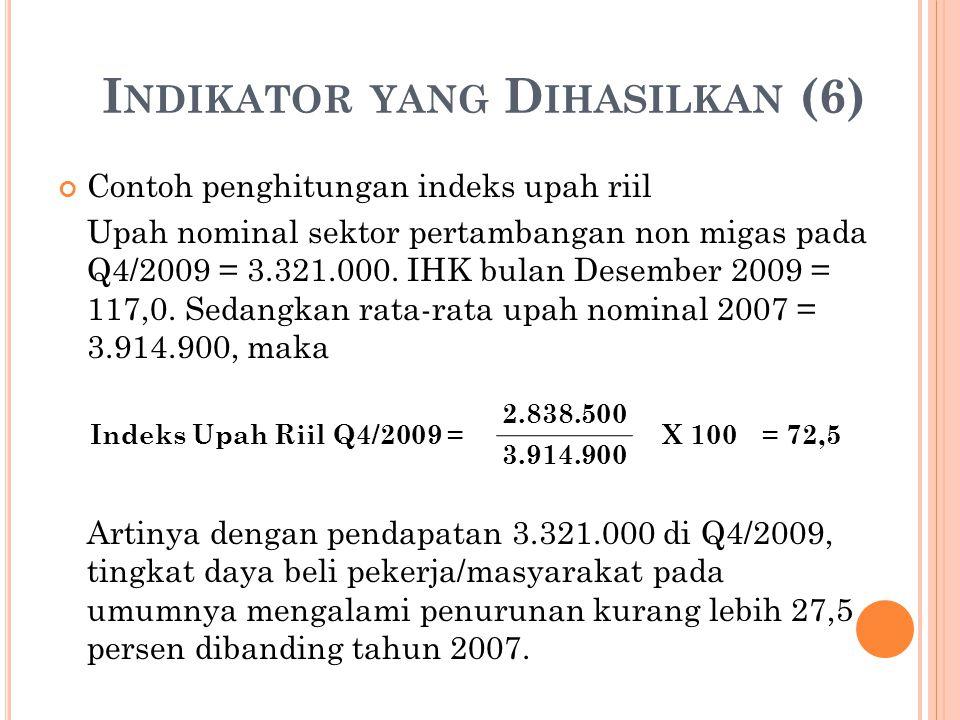 I NDIKATOR YANG D IHASILKAN (6) Contoh penghitungan indeks upah riil Upah nominal sektor pertambangan non migas pada Q4/2009 = 3.321.000.