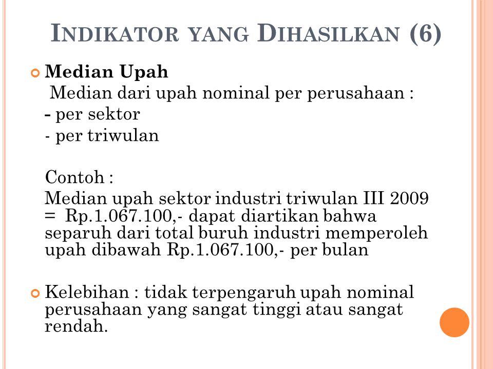 I NDIKATOR YANG D IHASILKAN (6) Median Upah Median dari upah nominal per perusahaan : - per sektor - per triwulan Contoh : Median upah sektor industri triwulan III 2009 = Rp.1.067.100,- dapat diartikan bahwa separuh dari total buruh industri memperoleh upah dibawah Rp.1.067.100,- per bulan Kelebihan : tidak terpengaruh upah nominal perusahaan yang sangat tinggi atau sangat rendah.