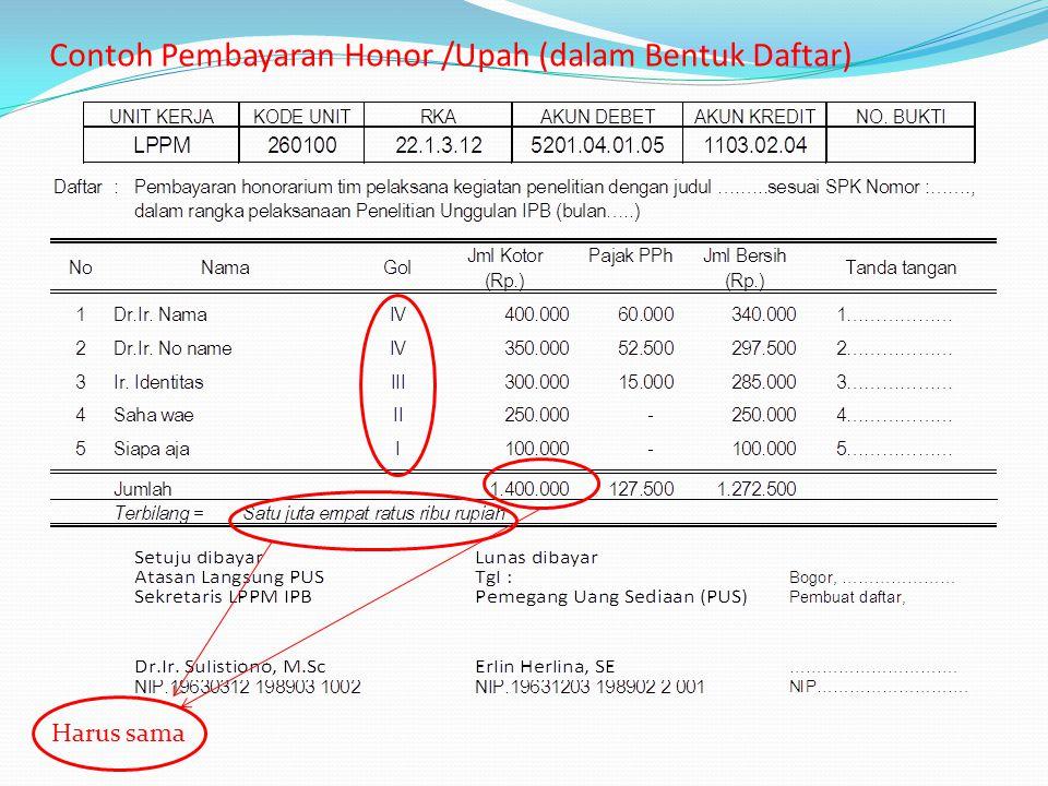Contoh Pembayaran Honor /Upah (dalam Bentuk Daftar) Harus sama