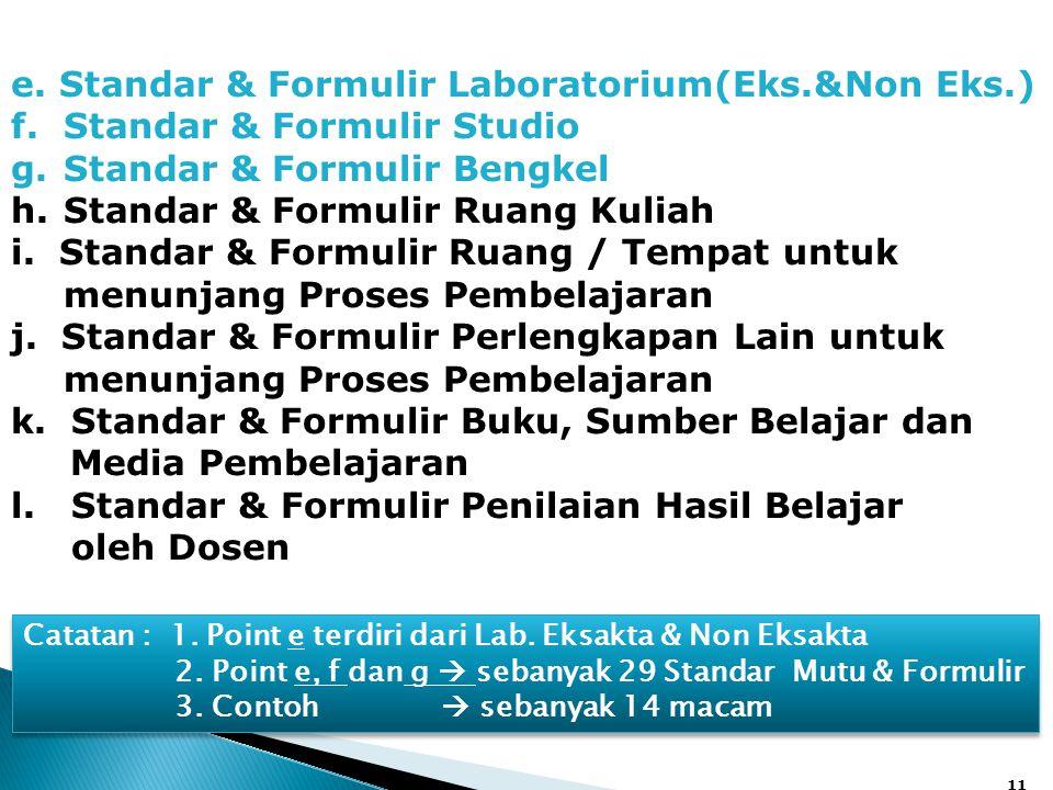 11 e. Standar & Formulir Laboratorium(Eks.&Non Eks.) f.Standar & Formulir Studio g.Standar & Formulir Bengkel h.Standar & Formulir Ruang Kuliah i. Sta