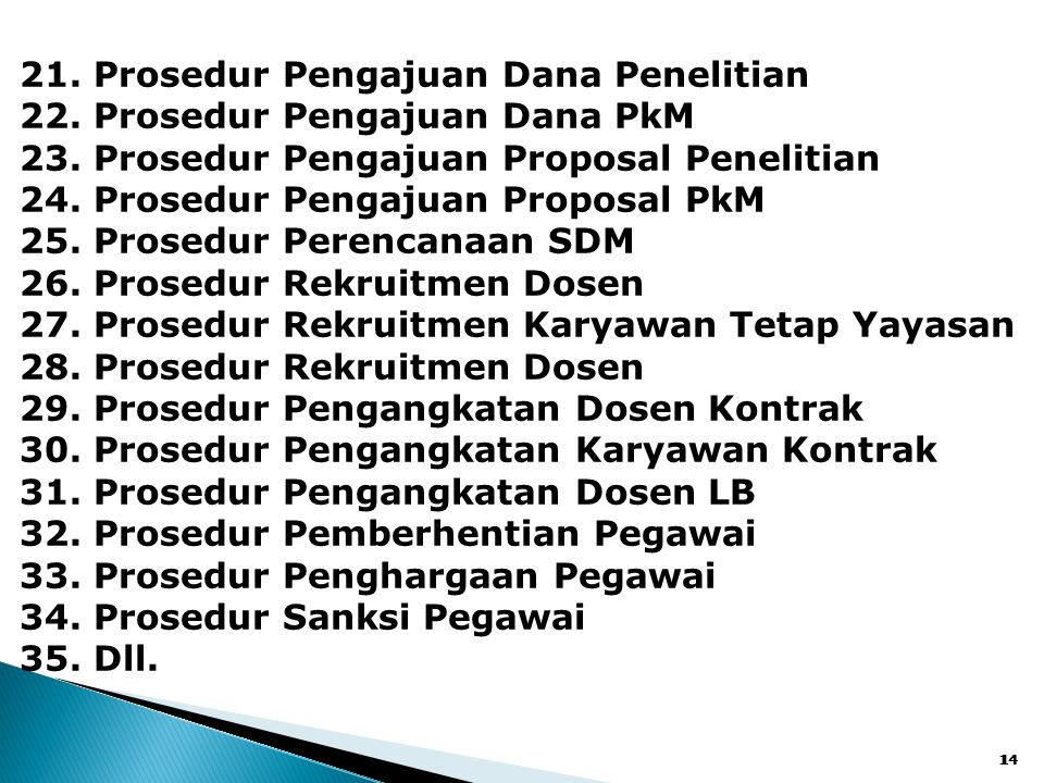 14 21. Prosedur Pengajuan Dana Penelitian 22. Prosedur Pengajuan Dana PkM 23. Prosedur Pengajuan Proposal Penelitian 24. Prosedur Pengajuan Proposal P