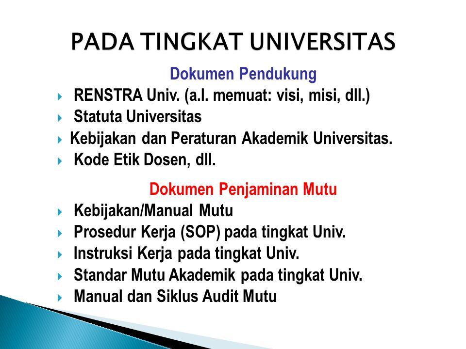 PADA TINGKAT UNIVERSITAS Dokumen Pendukung  RENSTRA Univ. (a.l. memuat: visi, misi, dll.)  Statuta Universitas  Kebijakan dan Peraturan Akademik Un