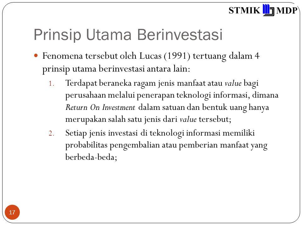 Prinsip Utama Berinvestasi 17 Fenomena tersebut oleh Lucas (1991) tertuang dalam 4 prinsip utama berinvestasi antara lain: 1. Terdapat beraneka ragam