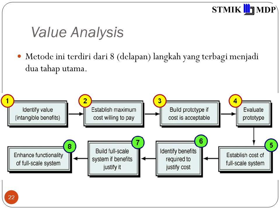 Value Analysis 22 Metode ini terdiri dari 8 (delapan) langkah yang terbagi menjadi dua tahap utama.