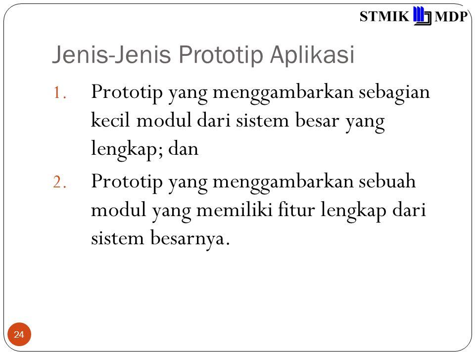 Jenis-Jenis Prototip Aplikasi 24 1. Prototip yang menggambarkan sebagian kecil modul dari sistem besar yang lengkap; dan 2. Prototip yang menggambarka
